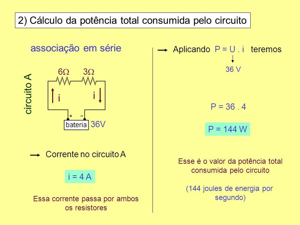 2) Cálculo da potência total consumida pelo circuito