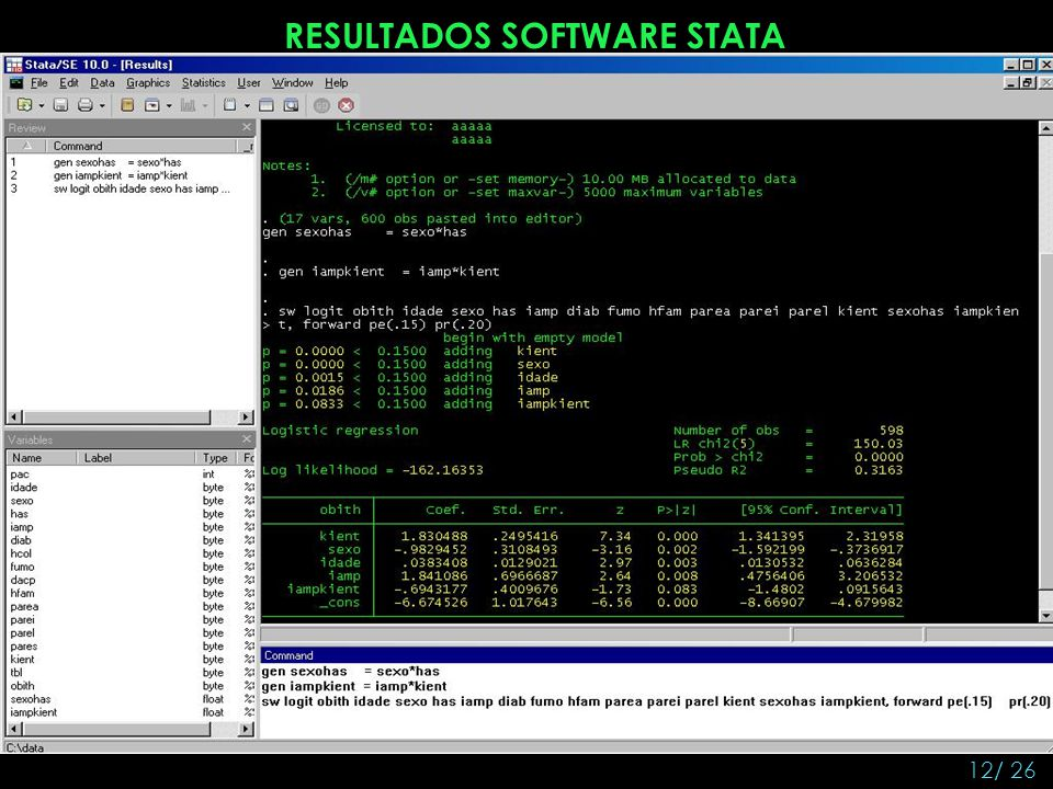 RESULTADOS SOFTWARE STATA