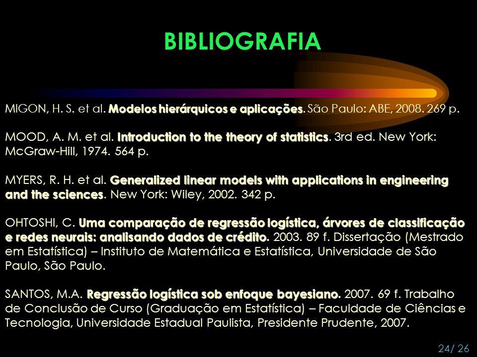 BIBLIOGRAFIA MIGON, H. S. et al. Modelos hierárquicos e aplicações. São Paulo: ABE, 2008. 269 p.