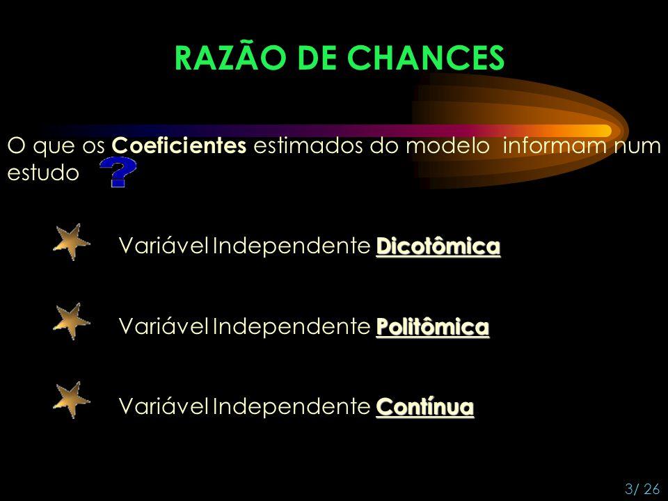 RAZÃO DE CHANCES O que os Coeficientes estimados do modelo informam num estudo. Variável Independente Dicotômica.