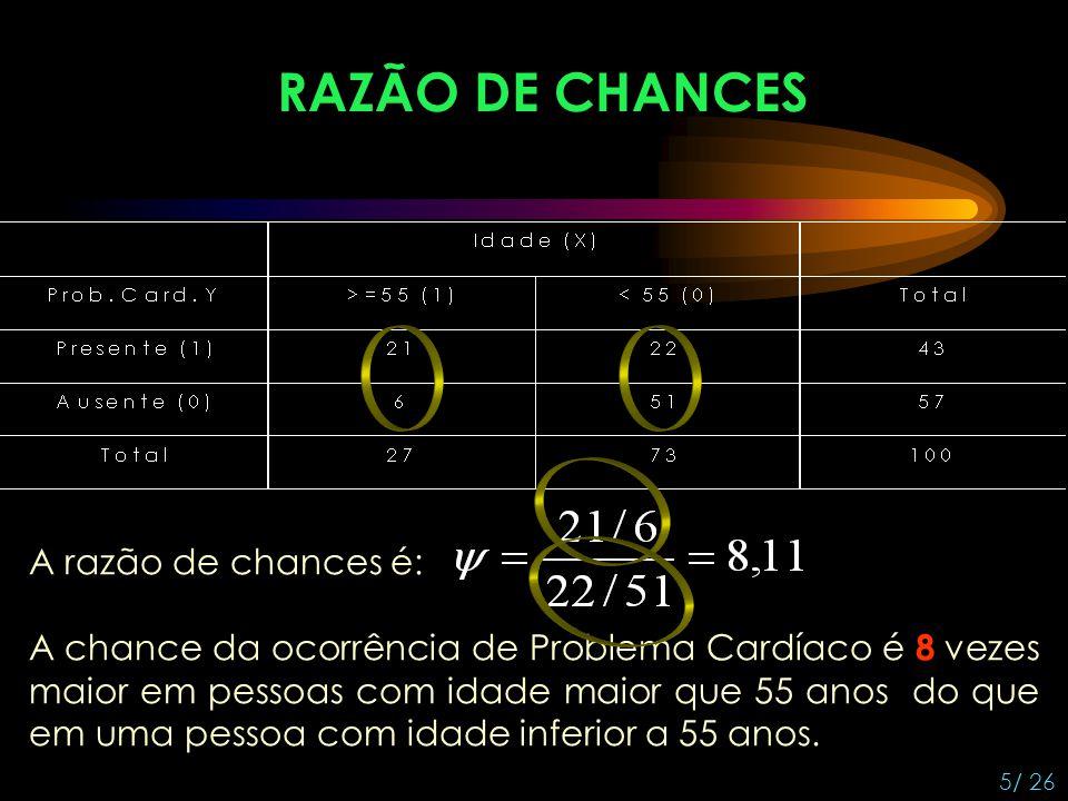 RAZÃO DE CHANCES A razão de chances é: