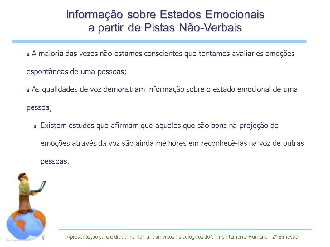 Informação sobre Estados Emocionais a partir de Pistas Não-Verbais