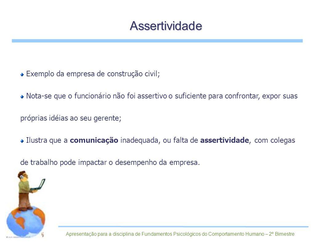 Assertividade Exemplo da empresa de construção civil;