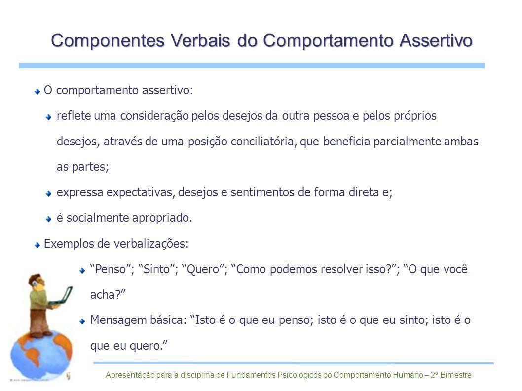 Componentes Verbais do Comportamento Assertivo