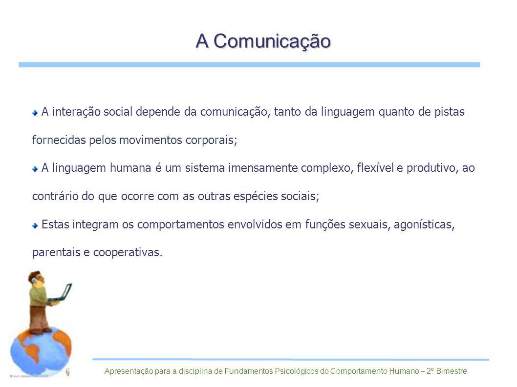 A Comunicação A interação social depende da comunicação, tanto da linguagem quanto de pistas fornecidas pelos movimentos corporais;