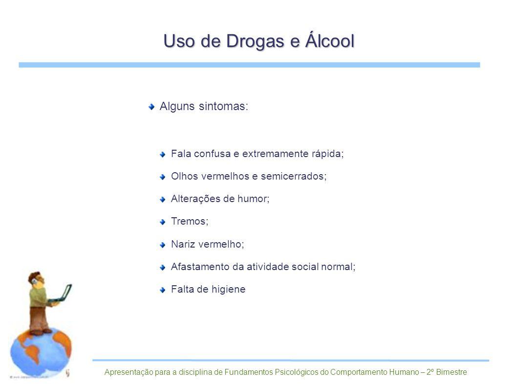 Uso de Drogas e Álcool Alguns sintomas:
