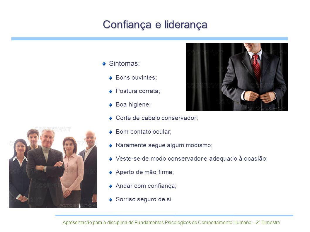 Confiança e liderança Sintomas: Bons ouvintes; Postura correta;