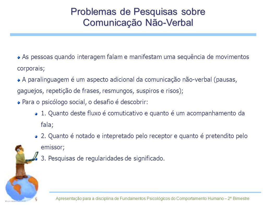 Problemas de Pesquisas sobre Comunicação Não-Verbal