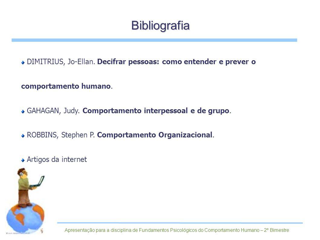 Bibliografia DIMITRIUS, Jo-Ellan. Decifrar pessoas: como entender e prever o comportamento humano.