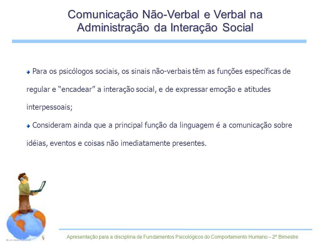 Comunicação Não-Verbal e Verbal na Administração da Interação Social