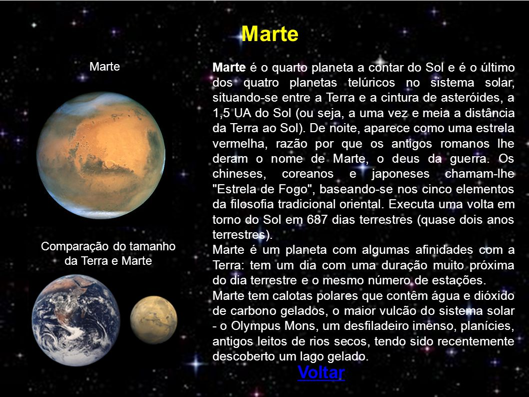 Comparação do tamanho da Terra e Marte