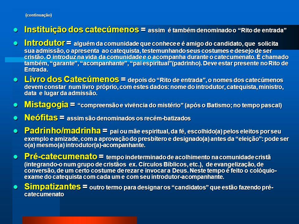 Neófitas = assim são denominados os recém-batizados