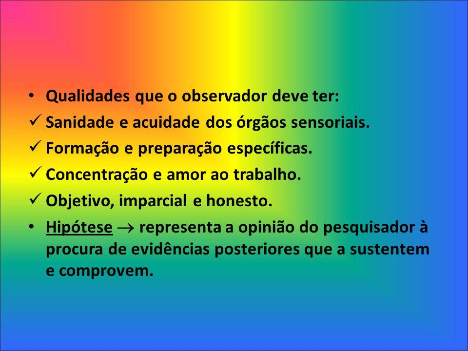 Qualidades que o observador deve ter: