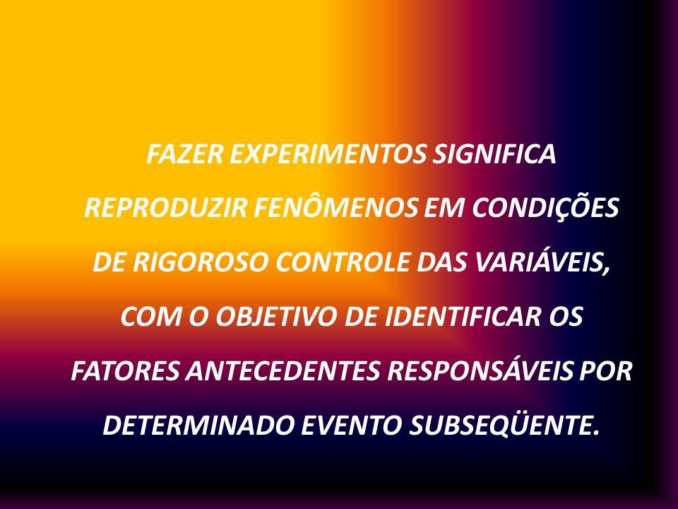 FAZER EXPERIMENTOS SIGNIFICA REPRODUZIR FENÔMENOS EM CONDIÇÕES DE RIGOROSO CONTROLE DAS VARIÁVEIS, COM O OBJETIVO DE IDENTIFICAR OS FATORES ANTECEDENTES RESPONSÁVEIS POR DETERMINADO EVENTO SUBSEQÜENTE.