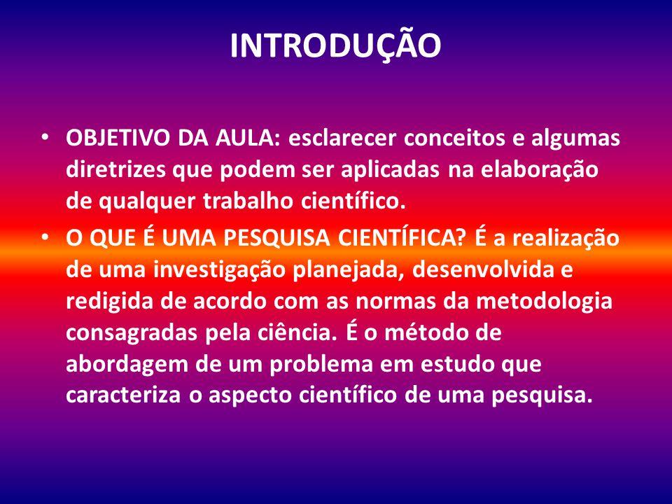 INTRODUÇÃO OBJETIVO DA AULA: esclarecer conceitos e algumas diretrizes que podem ser aplicadas na elaboração de qualquer trabalho científico.