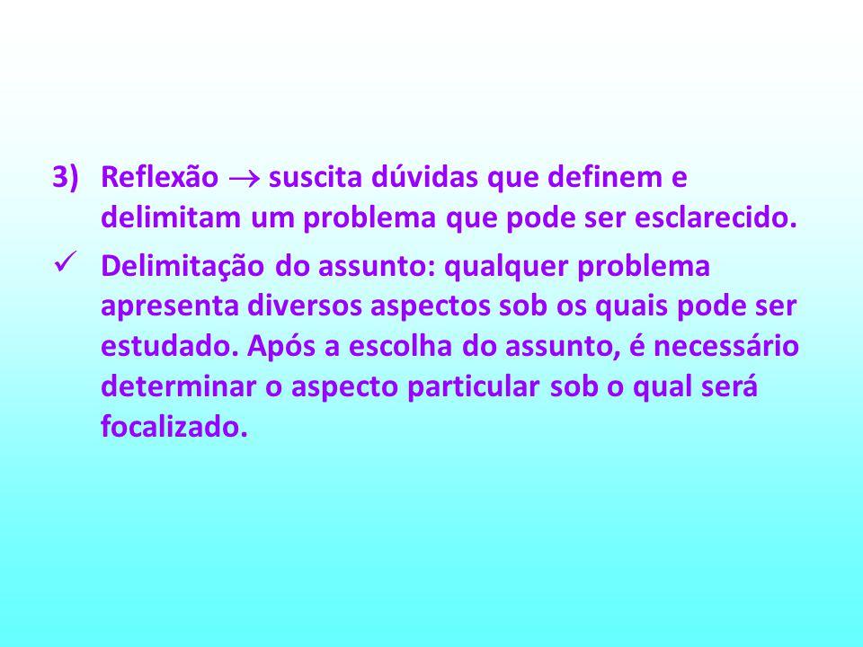 Reflexão  suscita dúvidas que definem e delimitam um problema que pode ser esclarecido.