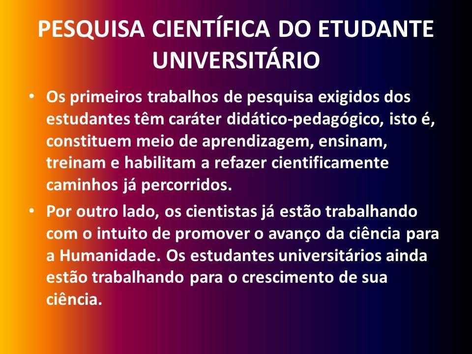 PESQUISA CIENTÍFICA DO ETUDANTE UNIVERSITÁRIO