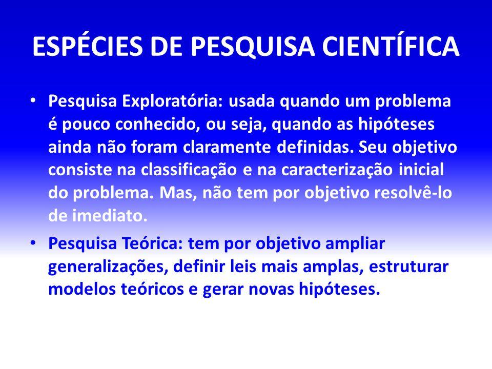 ESPÉCIES DE PESQUISA CIENTÍFICA