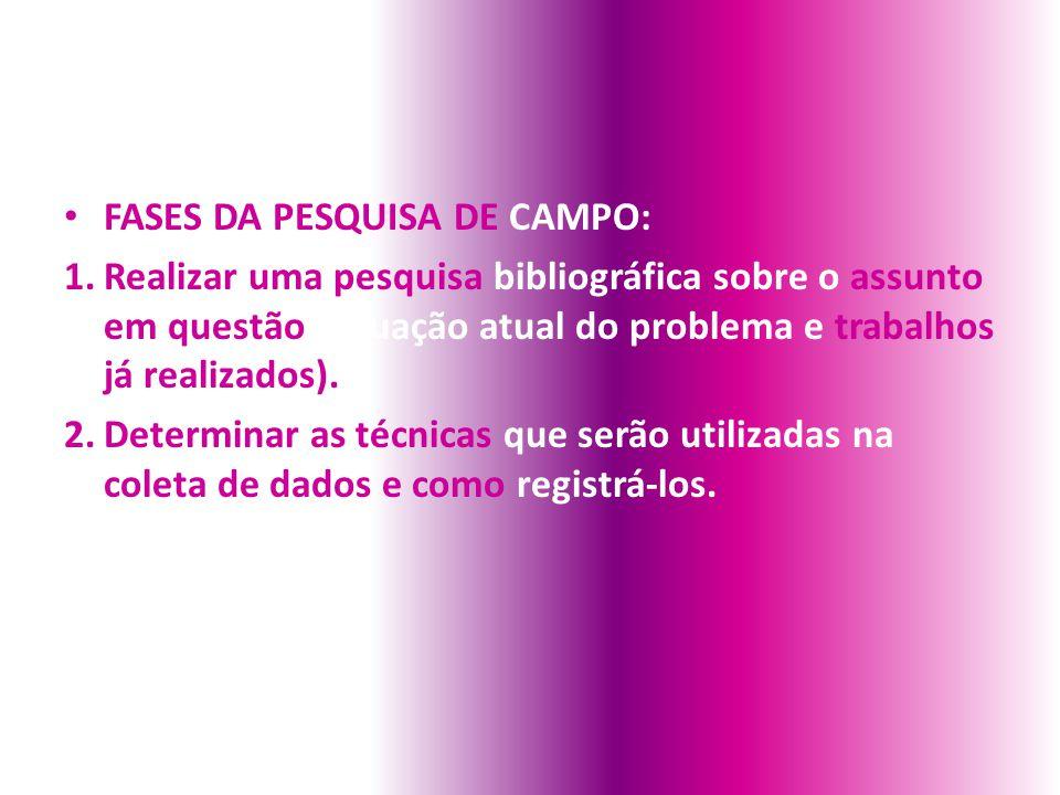 FASES DA PESQUISA DE CAMPO: