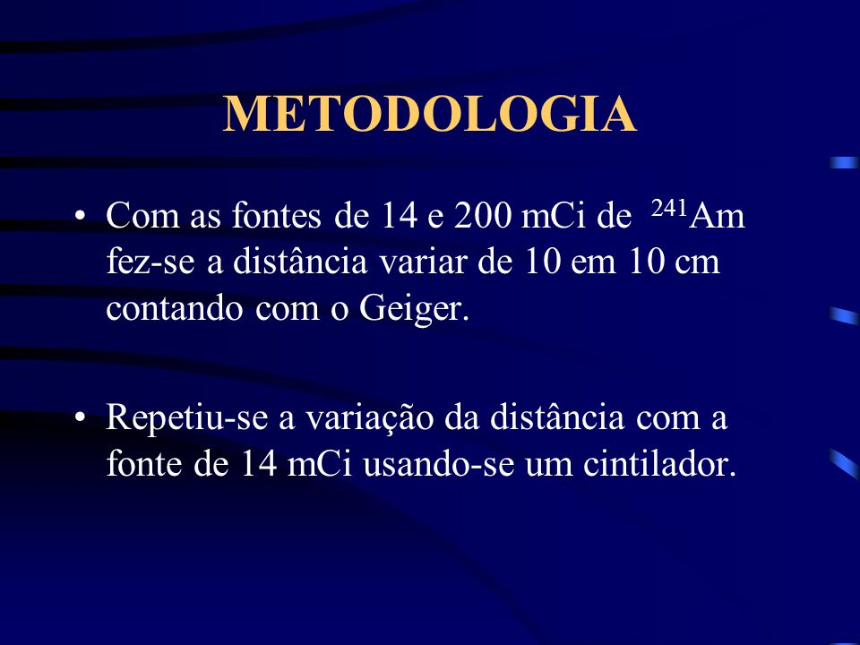 METODOLOGIA Com as fontes de 14 e 200 mCi de 241Am fez-se a distância variar de 10 em 10 cm contando com o Geiger.