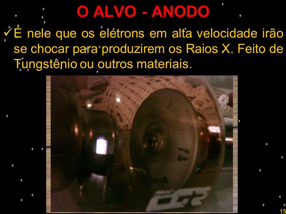 O ALVO - ANODO É nele que os elétrons em alta velocidade irão se chocar para produzirem os Raios X. Feito de Tungstênio ou outros materiais.