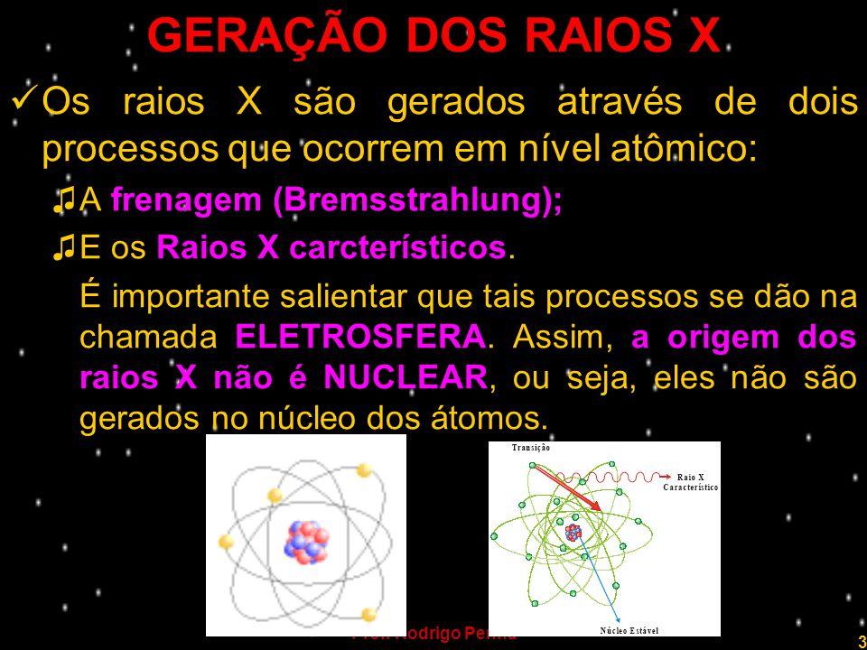GERAÇÃO DOS RAIOS X Os raios X são gerados através de dois processos que ocorrem em nível atômico: A frenagem (Bremsstrahlung);