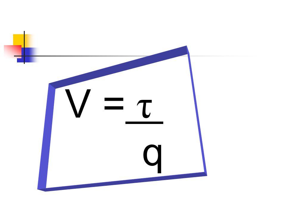 V = τ . q