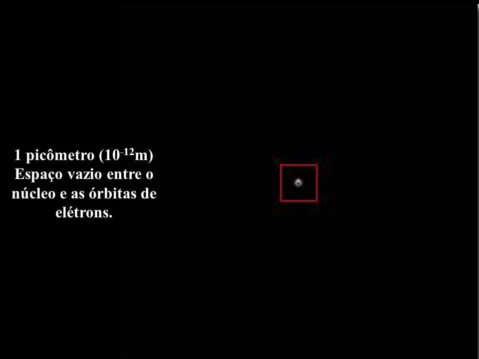 1 picômetro (10-12m) Espaço vazio entre o núcleo e as órbitas de elétrons.
