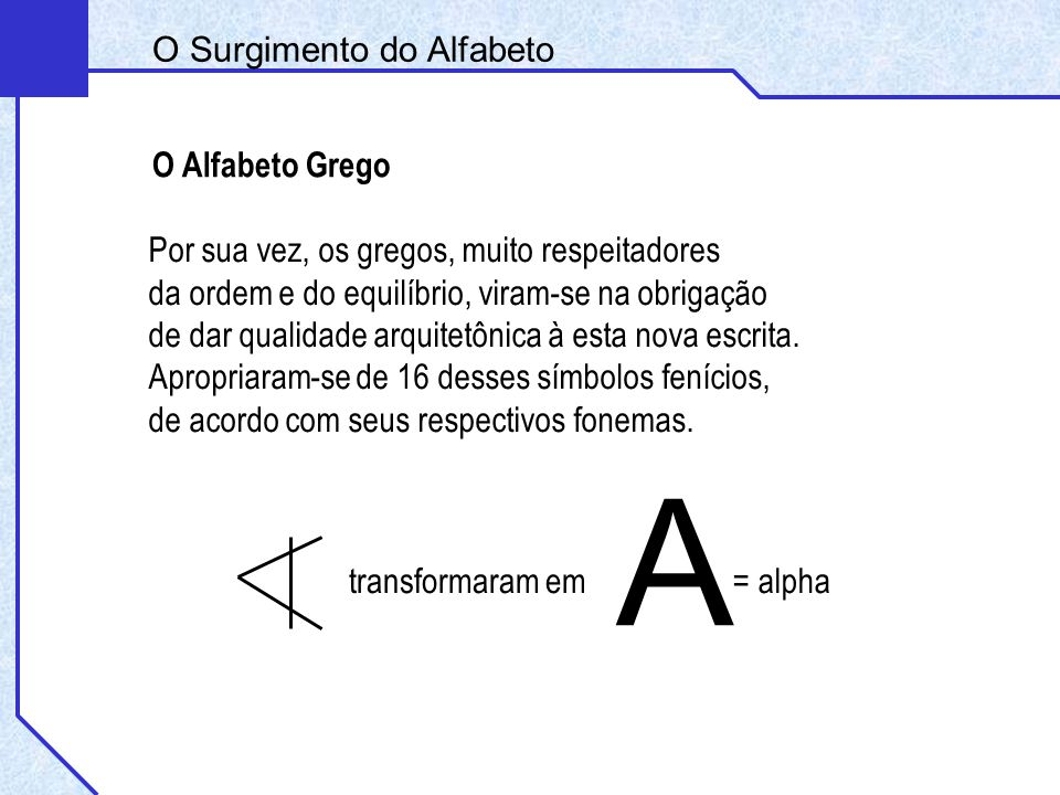 A O Surgimento do Alfabeto O Alfabeto Grego