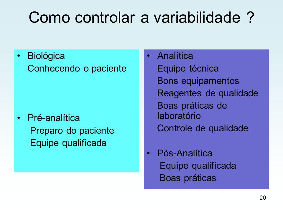 Como controlar a variabilidade