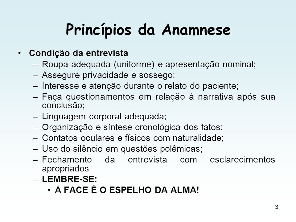 Princípios da Anamnese