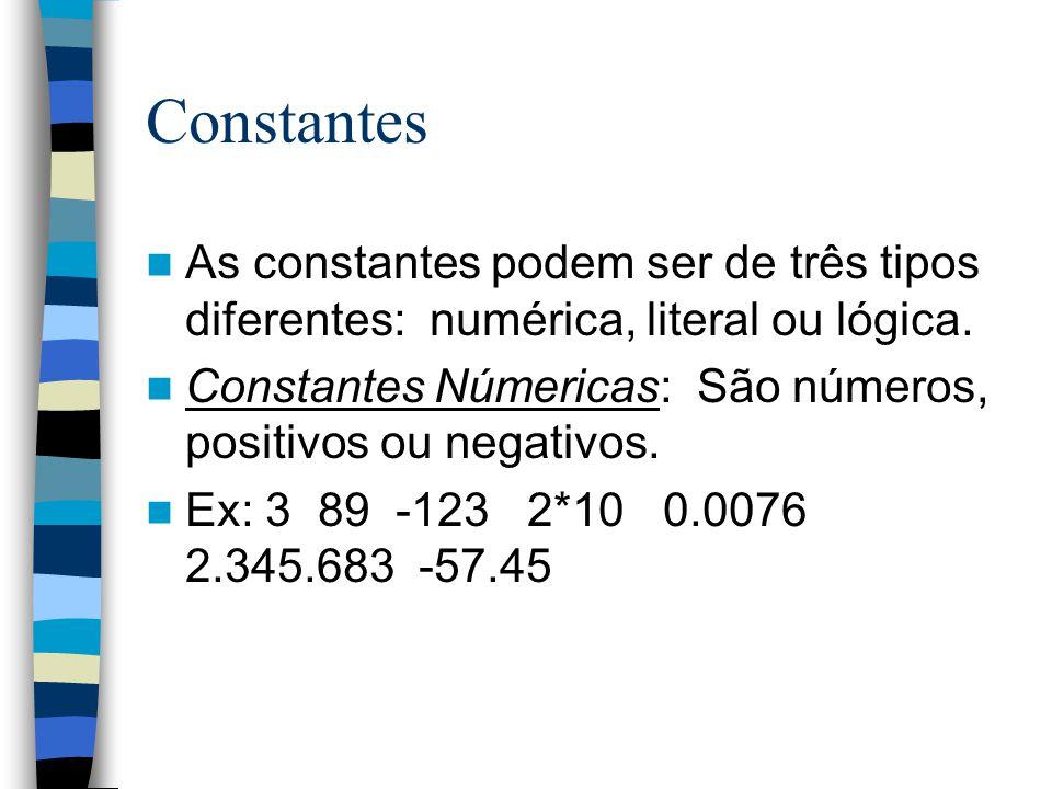 Constantes As constantes podem ser de três tipos diferentes: numérica, literal ou lógica.
