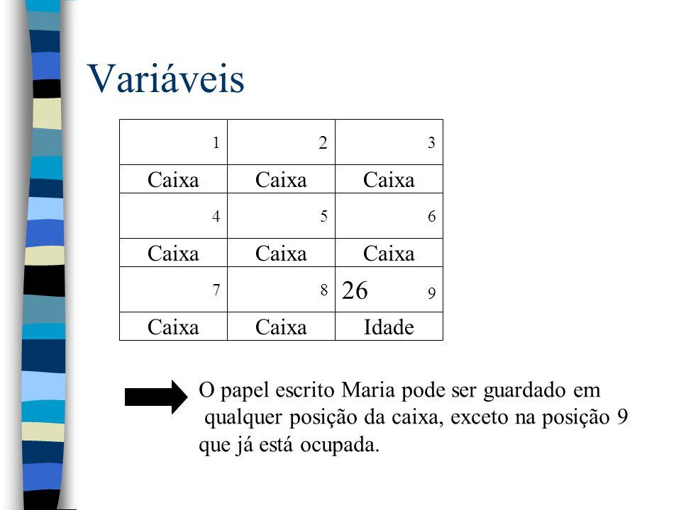 Variáveis 26 9 Caixa Idade O papel escrito Maria pode ser guardado em