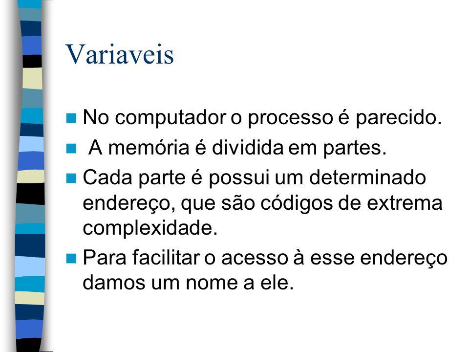 Variaveis No computador o processo é parecido.