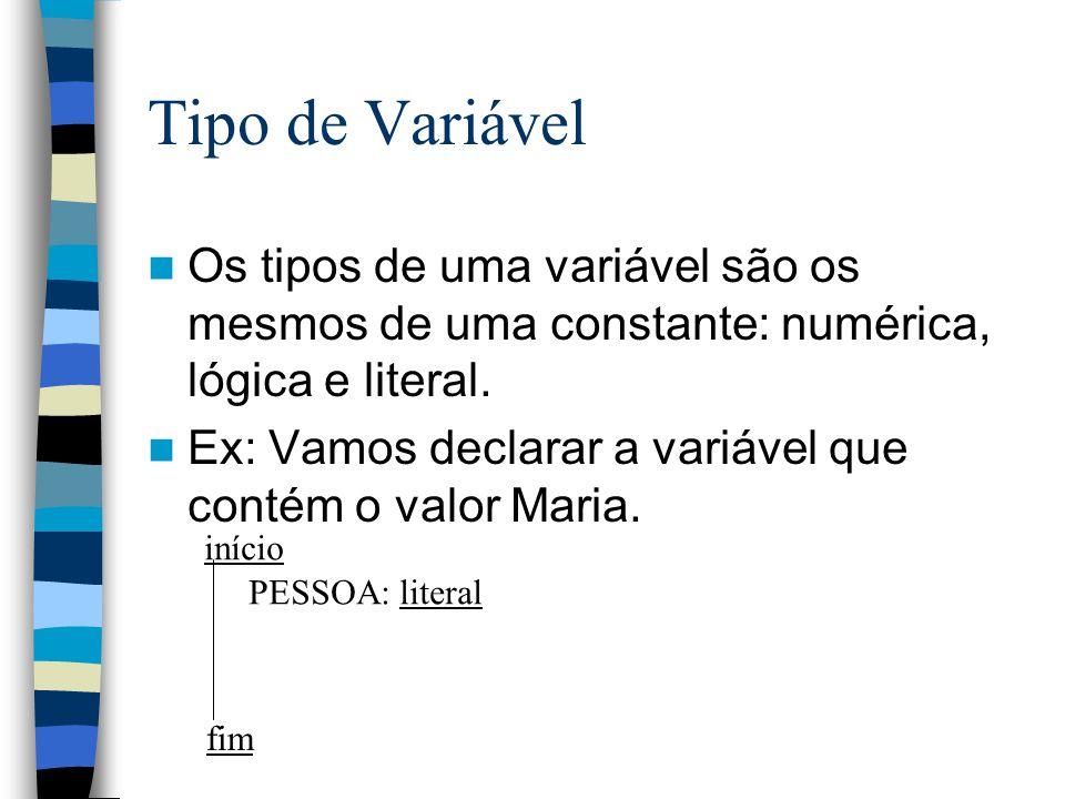 Tipo de Variável Os tipos de uma variável são os mesmos de uma constante: numérica, lógica e literal.