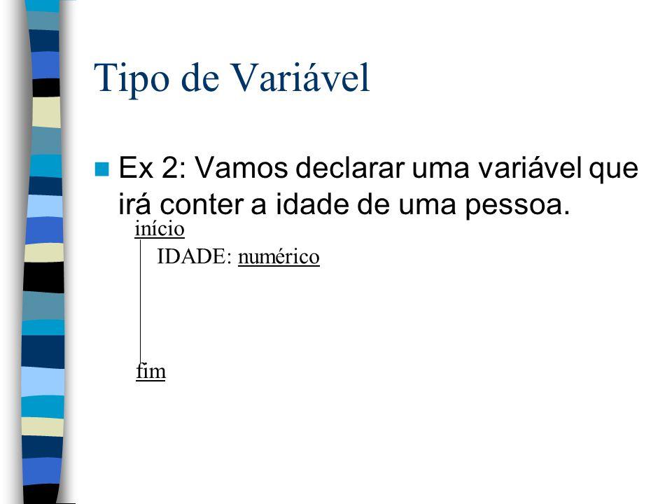 Tipo de Variável Ex 2: Vamos declarar uma variável que irá conter a idade de uma pessoa. início. fim.