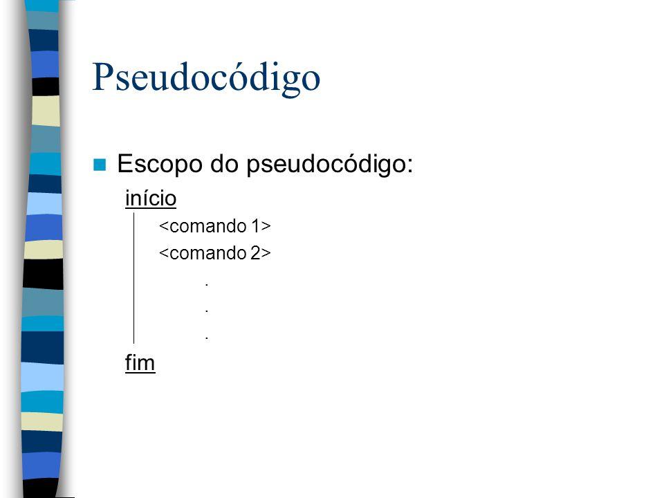 Pseudocódigo Escopo do pseudocódigo: início fim <comando 1>