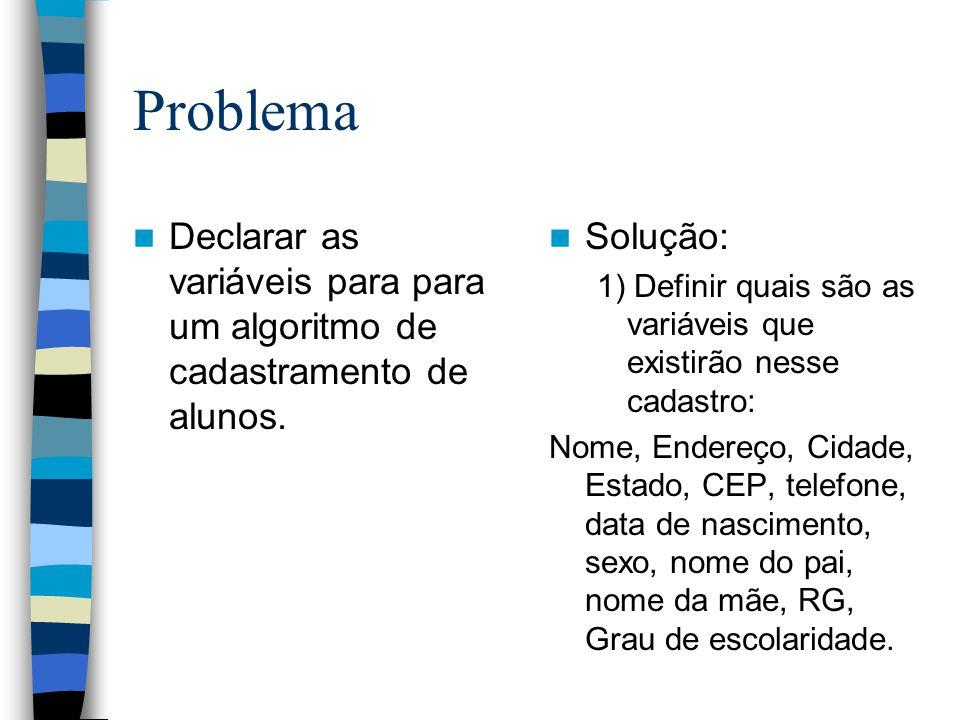 Problema Declarar as variáveis para para um algoritmo de cadastramento de alunos. Solução: