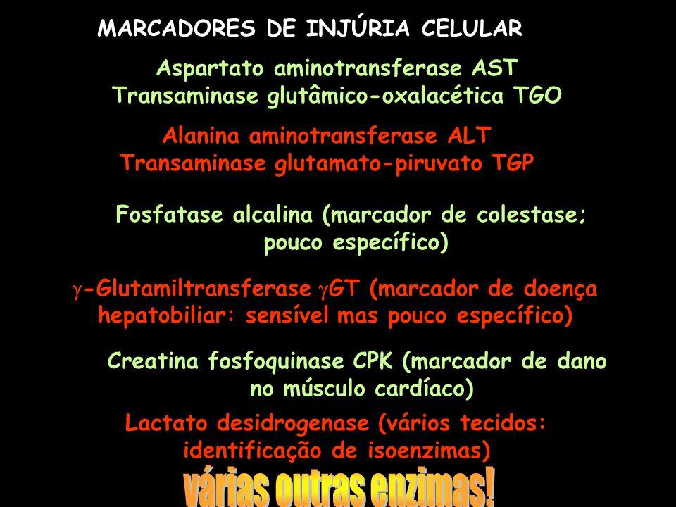 várias outras enzimas! MARCADORES DE INJÚRIA CELULAR