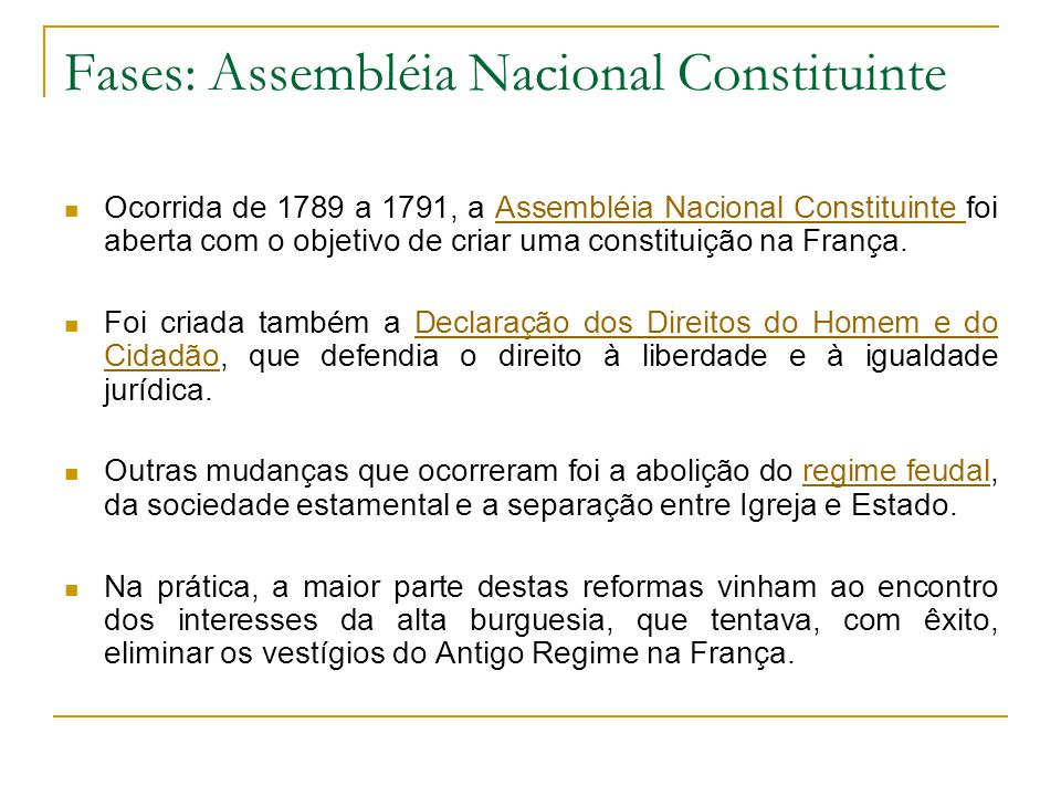 Fases: Assembléia Nacional Constituinte