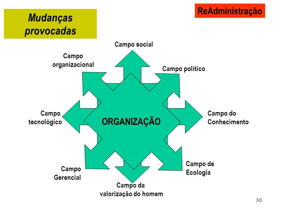 Mudanças provocadas ReAdministração ORGANIZAÇÃO Campo social Campo