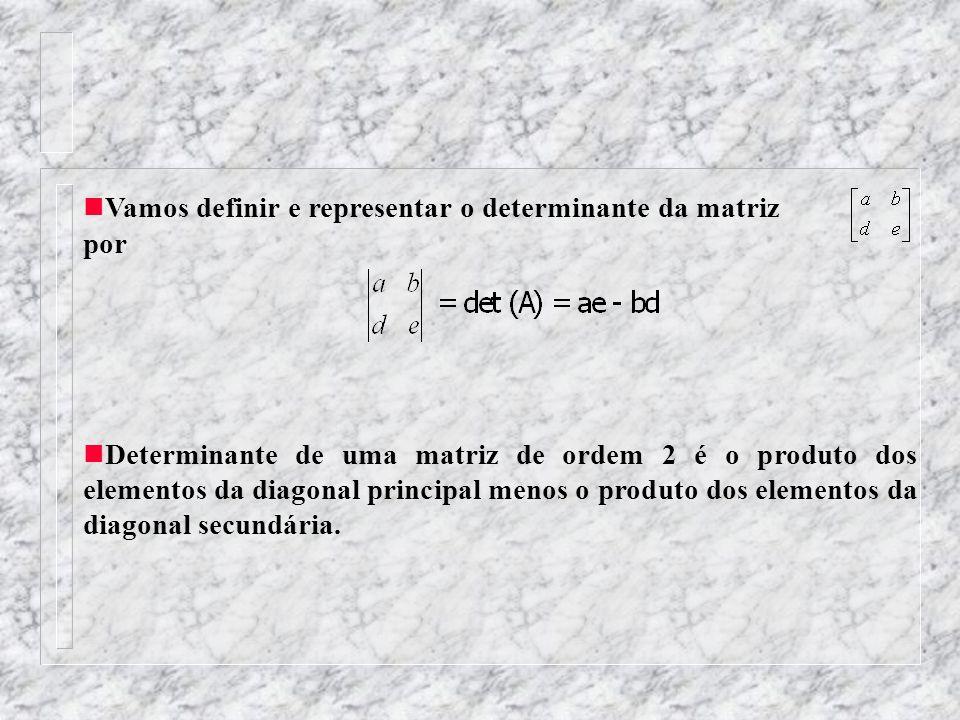 Vamos definir e representar o determinante da matriz por