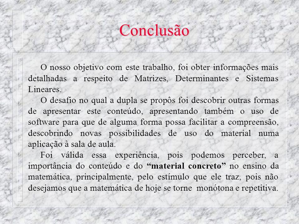 Conclusão O nosso objetivo com este trabalho, foi obter informações mais detalhadas a respeito de Matrizes, Determinantes e Sistemas Lineares.