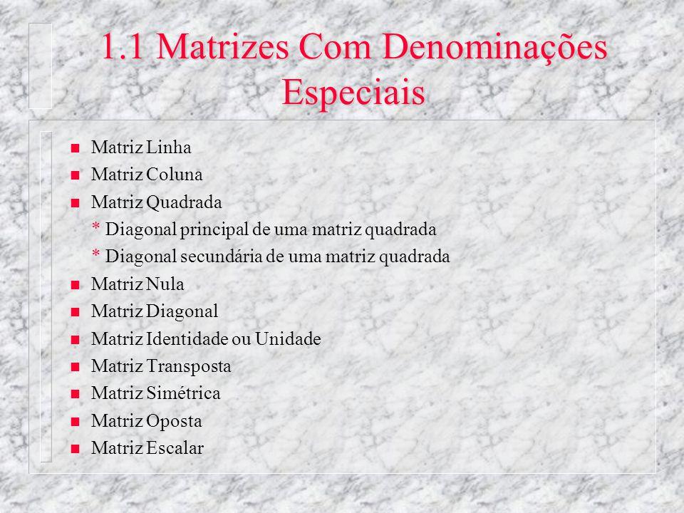 1.1 Matrizes Com Denominações Especiais