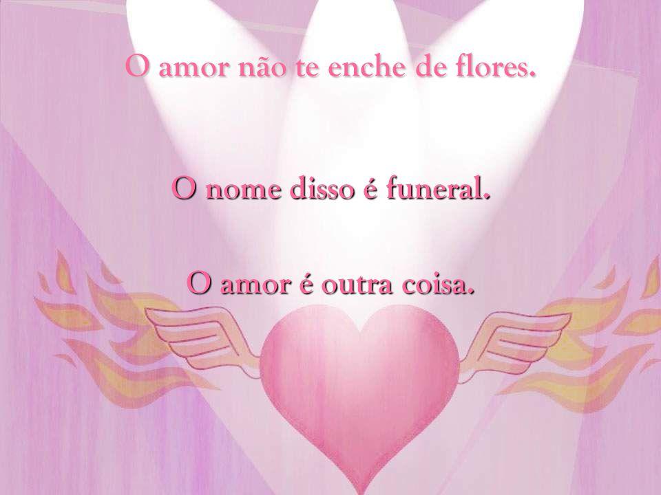 O amor não te enche de flores.