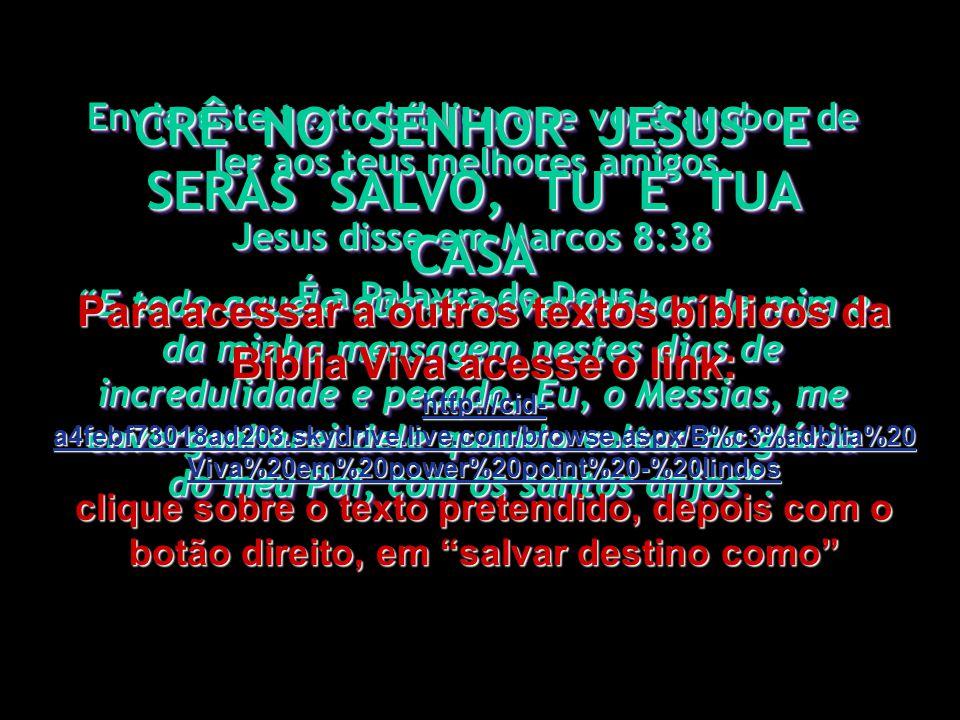 CRÊ NO SENHOR JESUS E SERÁS SALVO, TU E TUA CASA