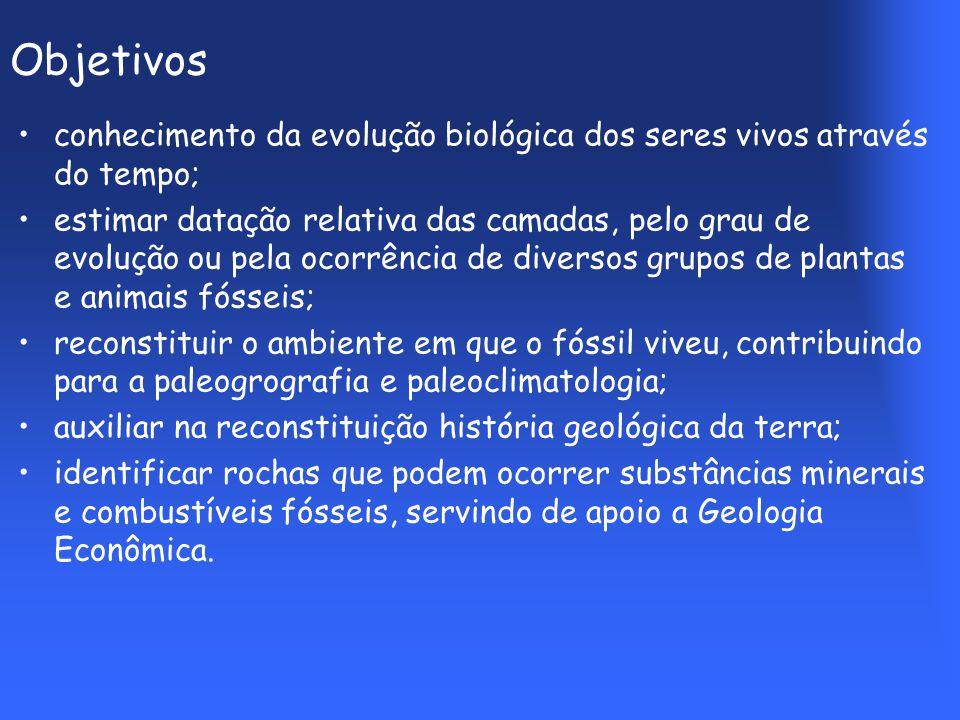 Objetivos conhecimento da evolução biológica dos seres vivos através do tempo;