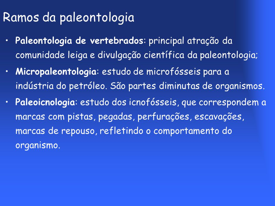 Ramos da paleontologia