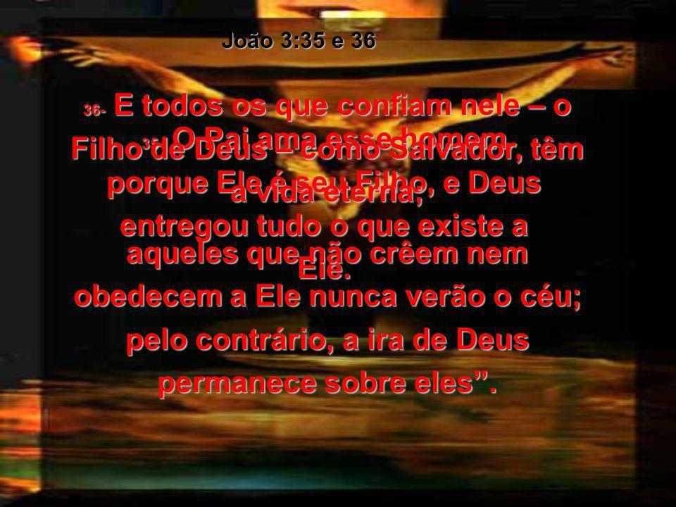 João 3:35 e 36 36- E todos os que confiam nele – o Filho de Deus – como Salvador, têm a vida eterna;