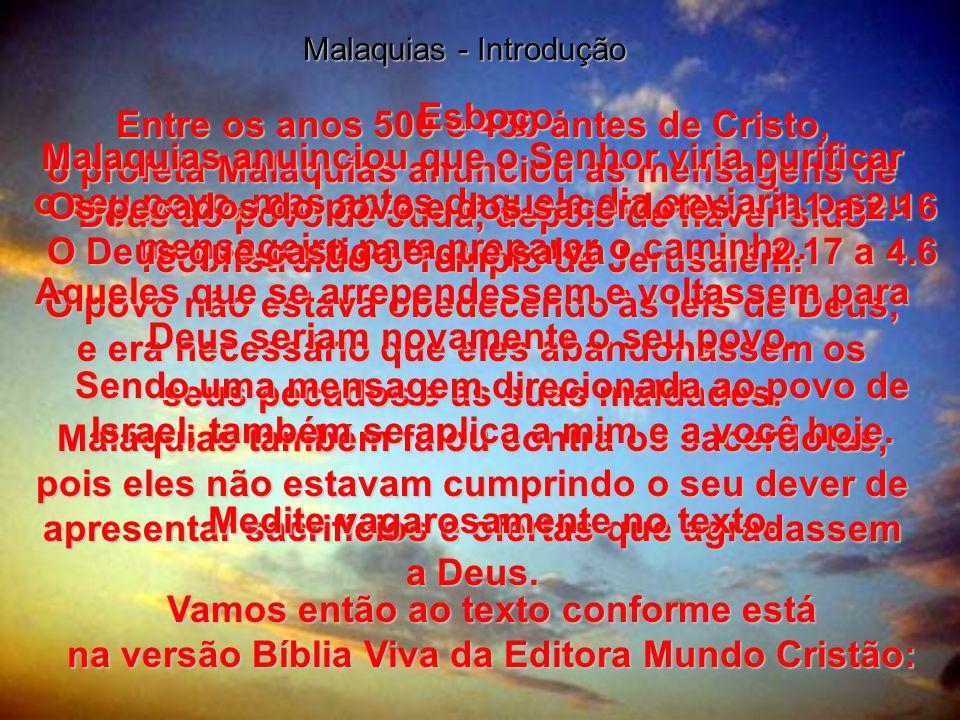 Os pecados do povo e dos sacerdotes 1.1 a 2.16
